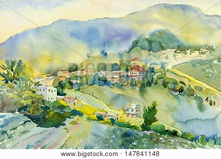 Watercolor landscape original painting colorful of mountain village and emotion in blue mountain background