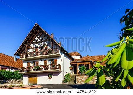 Beautiful Guesthouse With Terrace In Alsace, France. Alpine Style Decoration.