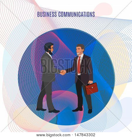 two men in suits shaking hands and smiling very friendly, conceptual business illustration