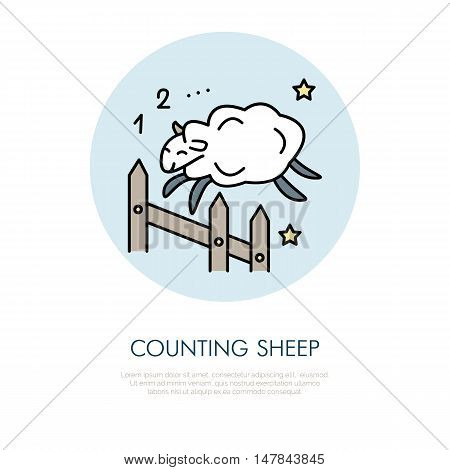 Counting sheep illustration. Modern vector line icon of jumping sheep. Insomnia linear logo. Outline symbol for sleep problem healthy sleeping. Design element for site brochure book. Cute sheep art