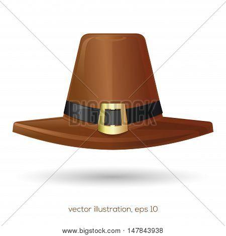 Brown pilgrim hat. Thanksgiving symbol. Vector illustration isolated on white background