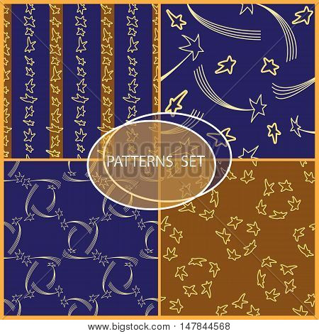 Set of seamless patterns with cartoon stars and comets. Can be used for wallpaper, pattern fills, greeting cards, wrapping paper or fabric. Vector illustration.