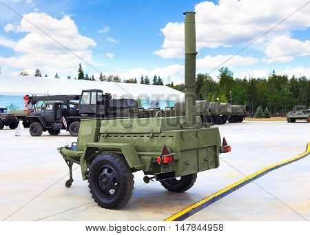 MOSCOW REGION  -   JUNE 17: Mobile outdoor kitchen for the troops in the field conditions  -  on June 17, 2015 in Moscow region