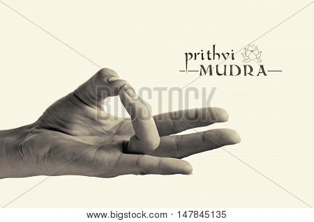 B/W image of woman hand in Prithvi mudra. Gesture is isolated on toned background.