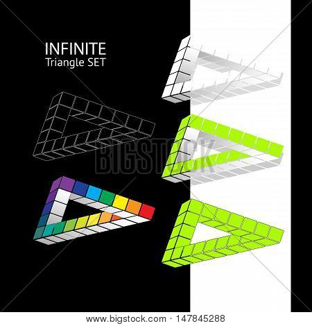 Set abstract modern infinite triangle. Vector illustration.