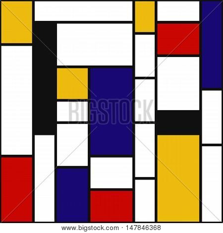 Abstract design. Retro illustration. Mosaic graphic. Avant-garde pattern. Vintage ornament. Bauhaus print. Mondrian background. Hipster art. Futuristic wallpaper. Geometry backdrop. Vector.