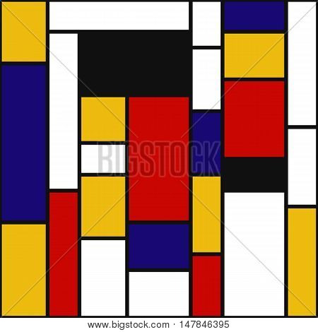 Abstract graphic. Retro pattern. Mosaic ornament. Avant-garde print. Vintage background. Bauhaus art. Mondrian wallpaper. Hipster backdrop. Futuristic design. Geometry illustration. Vector.