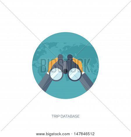 Binoculars. Flat travel background. Summer holidays, vacation. Plane, boat, car traveling. Tourism, trip, journey.