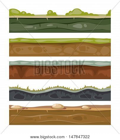 Seamless grounds soil and grass for ui game vector layers set. Cartoon endless level for gui with stone and green lawn illustration