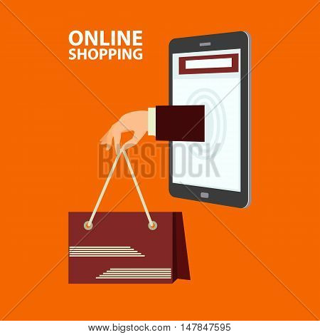 Hand delivers shopping bag with the purchased goods out from mobile phone. E-commerce online shopping buying internet concept in flat style. Vector illustration easy to edit