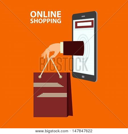 Hand delivers shopping bag with the purchased goods out from mobile phone. E-commerce internet shopping. Buying concept in flat style. Vector illustration easy to edit