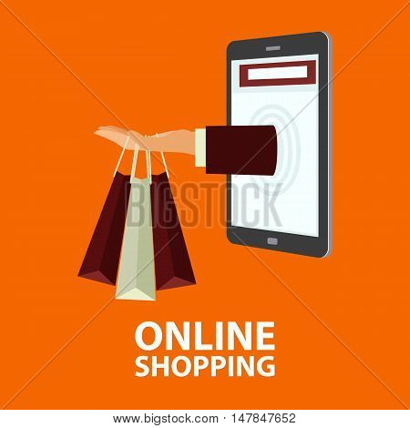 Hand delivers shopping bags with the purchased goods out from mobile phone. E-commerce online shopping buying internet concept in flat style. Vector illustration easy to edit