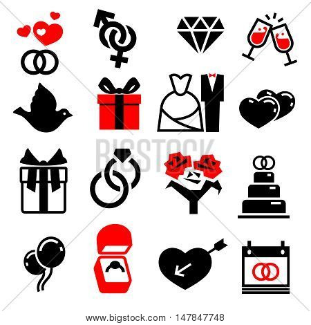 Wedding marriage bridal vector icons set. Love heart, cake and bouquet of flowers illustration
