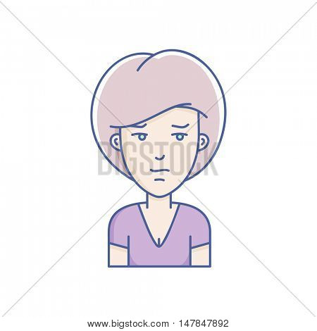 Woman face expression avatar icon. Vector linear girl avatars