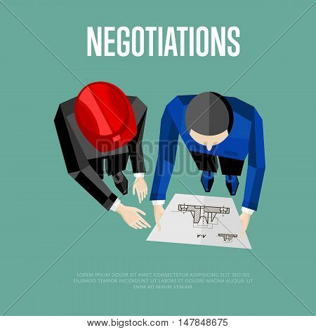 Negotiation banner, vector illustration. Top view of construction professionals discussing details of project with drawing. Two engineer builders with blueprint on blue background.
