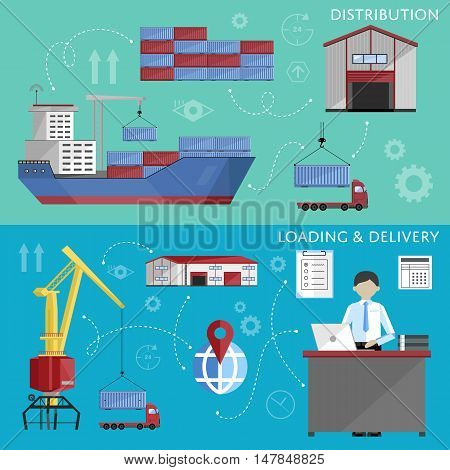 Sea port design concept set with container cargo and shipment flat design vector illustration. Cargo ship. Logistics and transportation infographic elements.