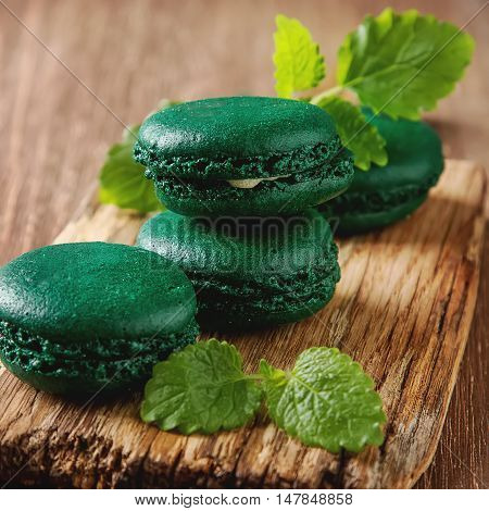 Traditional French Sweets. Green Pasta With Mint On A Wooden Boa