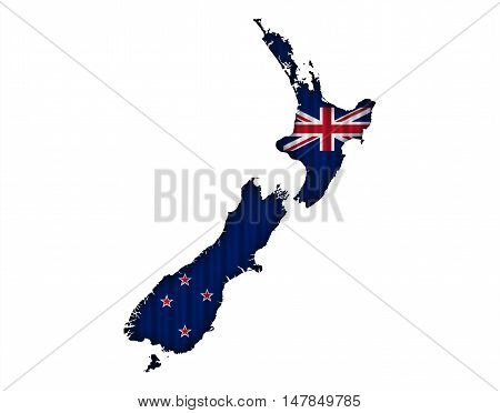 Map And Flag Of New Zealand On Corrugated Iron,