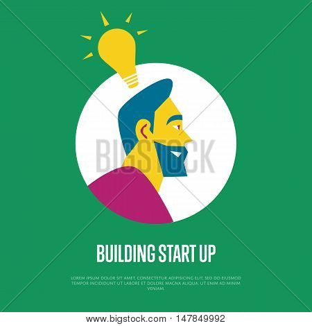 Building start up banner with businessman round avatar icon and lightbulb symbol on green background, vector illustration. Side view of smiling bearded man. Start up business concept design.