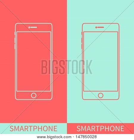 Smartphone outline icons on two coloured background. Mobile phone mock up. Perfect for application demo. Linear design. Isolated vector illustration.