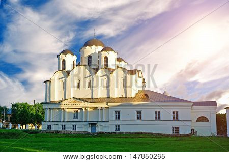 Sunset view of St Nicholas Cathedral at Yaroslav Courtyard Veliky Novgorod Russia. Architecture landscape of cathedral under soft sunset light Veliky Novgorod Russia