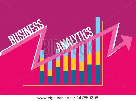 Business finance analytics banner with graphic report on perpl background. Vector illustration concept of analyzing financial indicators. Business growth, market research and strategy planning