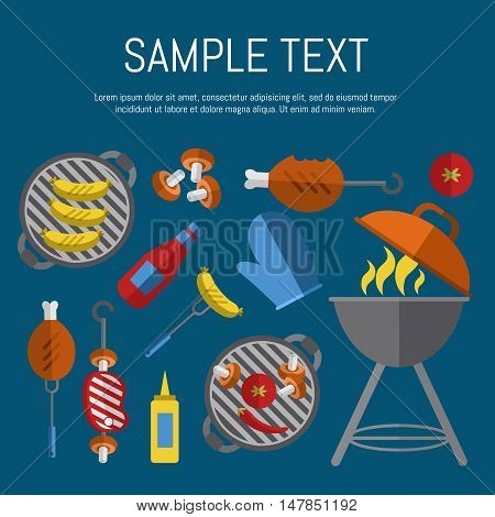 Vector illustration BBQ poster. Barbecue grill with fire, tools, meat and vegetables design elements on blue background. Summer weekend picnic, backyard party banner in flat style