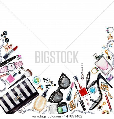 Frame of various watercolor female accessories. Makeup products high heel shoes perfumes lipstick earrings rings beads nail polish watch sunglasses. Hand drawn accessories