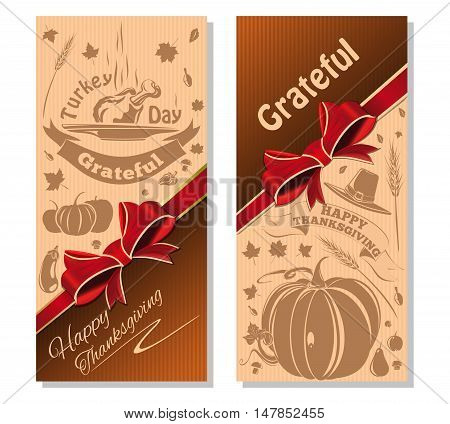 Happy Thanksgiving. Festive beige background with red ribbon and bow. Vector illustration