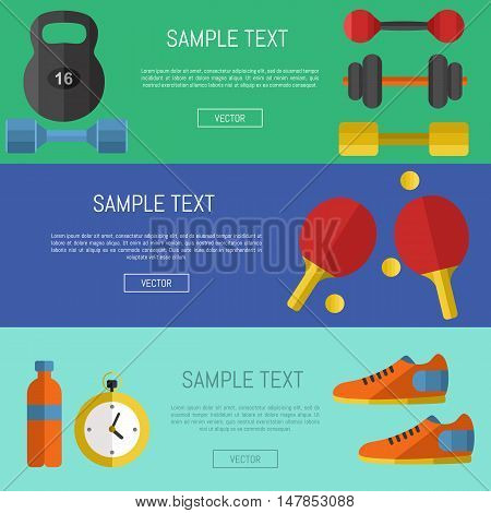 Fitness and healthy lifestyle horizontal banners with space for text, vector illustration set in flat style. Sports equipments on color background. Outdoors activity. Workout and gymnastics.