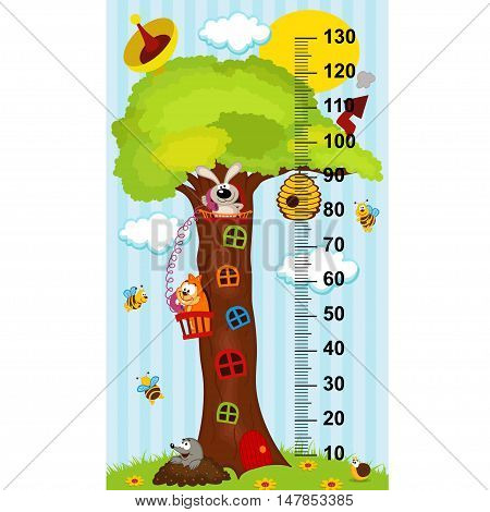 tree house height measure (in original proportions 1:4)- vector illustration, eps