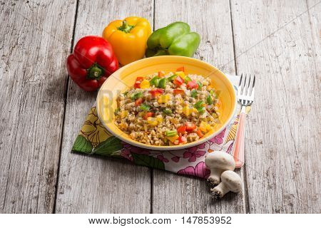 risotto with capsicum and champignon mushroom