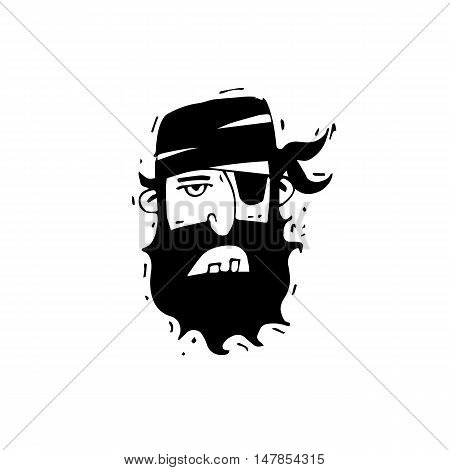 Pirate head Hand-drawn, lino-cut. Flat design vector illustration.