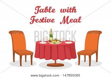 Cartoon Served Holiday Table with Festive Meal, Bottle of Champagne Wine, Napkins, Plates, Two Chairs, Isolated on White Background. Eps10, Contains Transparencies. Vector