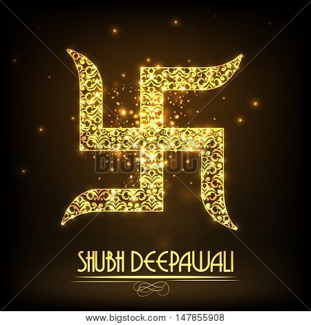 Floral Golden Swastika Symbol for Indian Traditional Festival, Shubh Deepawali (Happy Diwali) celebration.