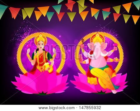 Hindu Goddess Lakshmi and Lord Ganesha on colorful buntings decorated background for Indian Traditional Festival, Happy Diwali celebration.