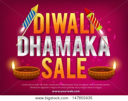 Diwali Dhamaka Sale Banner with illuminated oil lamps and firecrackers on shiny background.