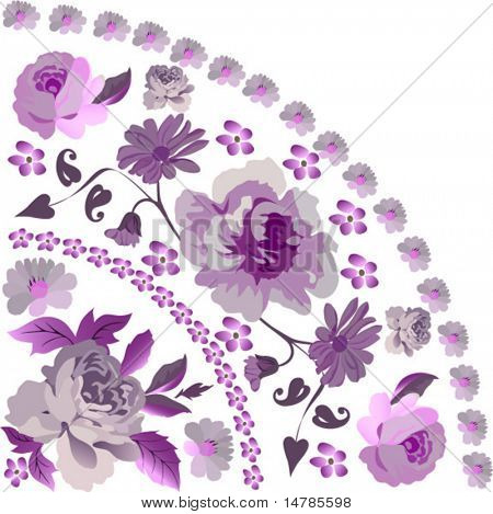 illustration with pink rose quadrant ornament