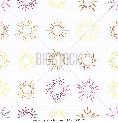 Suns in the sky seamless pattern. Sunny weather background. Vector illustration