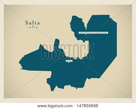 Modern Map - Salta AR vector high res