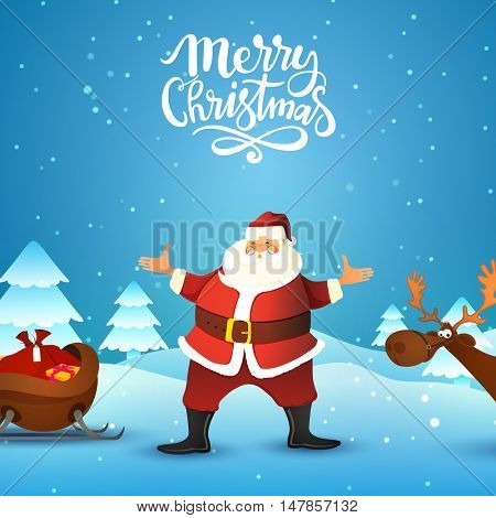 Happy Santa Claus with reindeer and sleigh on snowy background for Merry Christmas celebration.