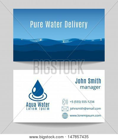 Pure water delivery business card both sides template. Natural drink freshness, vector illustration