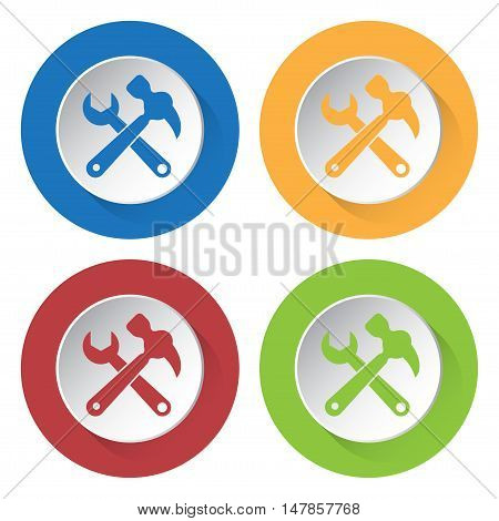 set of four colored icons - claw hammer with spanner