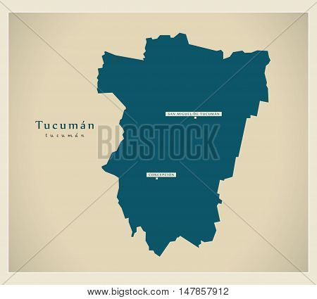 Modern Map - Tucuman AR vector high res