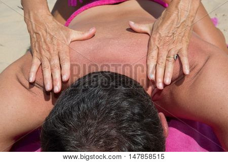 Massage Therapy Stretch Head Neck Outdoor Beach