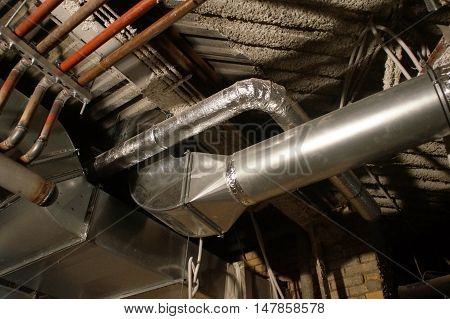 Pipes Under The Roof, The Ceiling, Connecting The Valves And Channels
