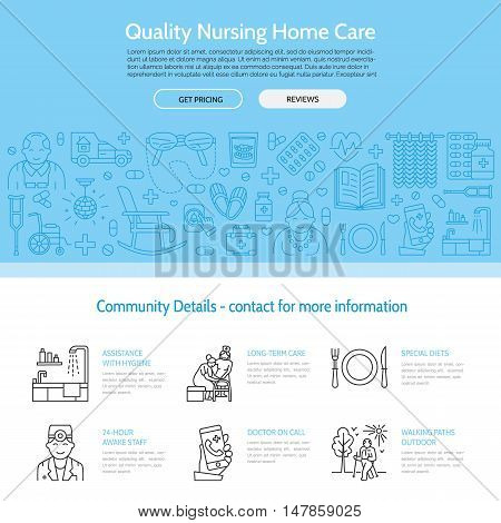 Modern vector line icon of senior and elderly care. Nursing home elements - disabled medicines hospital call button leisure. Linear medical template for sites brochures poster. Editable strokes.
