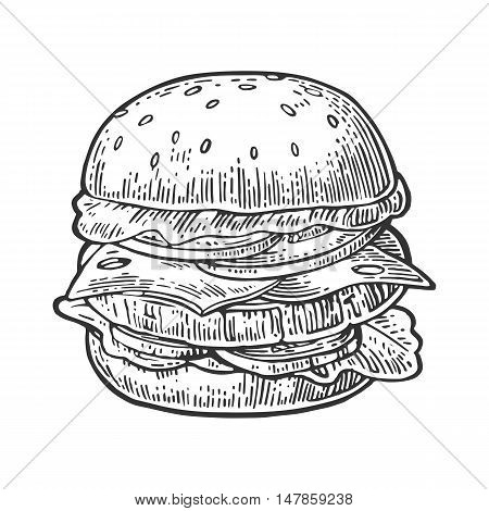 Burger include cutlet tomato cheese cucumber and salad isolated on white background. Vector vintage engraving illustration for poster menu web banner info graphic