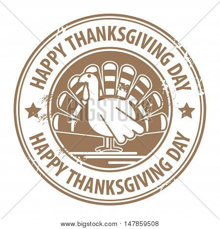 Abstract label with the turkey and the words Happy Thanksgiving Day, vector illustration