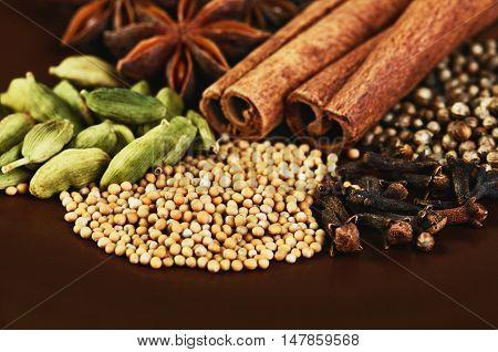 cinnamon sticks stars anise cardamom clove coriander and mustard seeds on a brown background close-up horizontal
